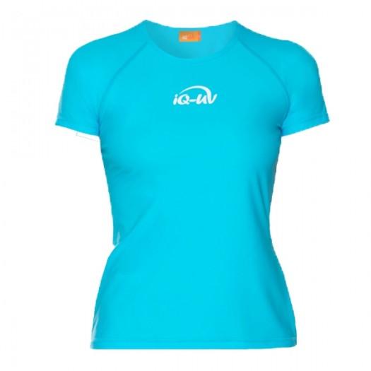 Гидромайка лайкровая iQ Watersport, женская, свободный крой, короткий рукав, бирюза UV300+