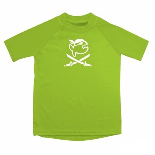 Детская гидромайка лайкровая, короткий рукав iQ UV 300+, неоновый зеленый