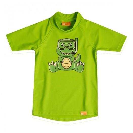 Детская гидромайка лайкровая, короткий рукав, неоновый зеленый iQ UV 300+ Dino