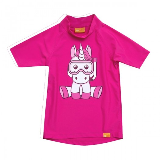 Детская гидромайка лайкровая, короткий рукав, розовый iQ UV 300+ Einhorn