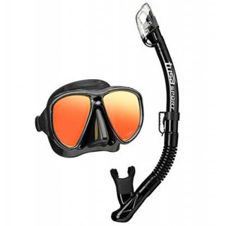 Комплект TUSA маска и трубка UC-2425 Black Series с зеркальными линзами